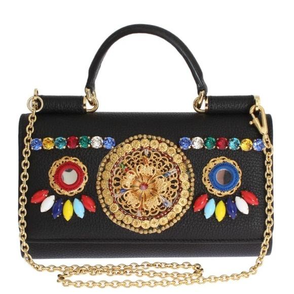 Dolce   Gabbana Bags   Dolce Gabbana Leather Crystal Sicily Von Bag ... 914c58ffb0